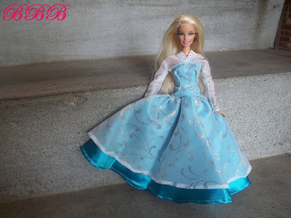 Barbie Satin Gown with Chiffon Overlay - Turquoise