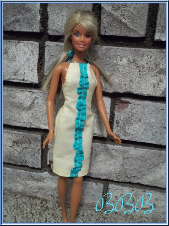 Barbie Clothes Ruffled Halter Dress Yellow & Turquoise