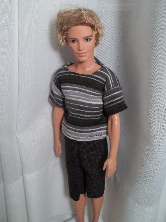 RESERVED FOR VIRGINIA Barbie Clothes Ken Outfit Striped Tee & Black Shorts