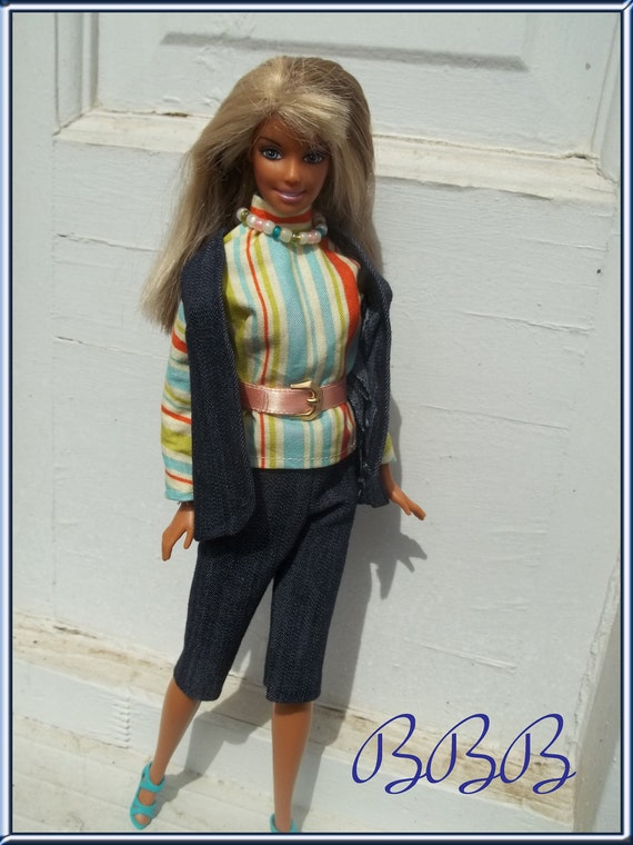 Barbie Clothing Vintage Style Barbie Outfit Striped Turtleneck Blouse Denim Vest and Knickers with Accessories