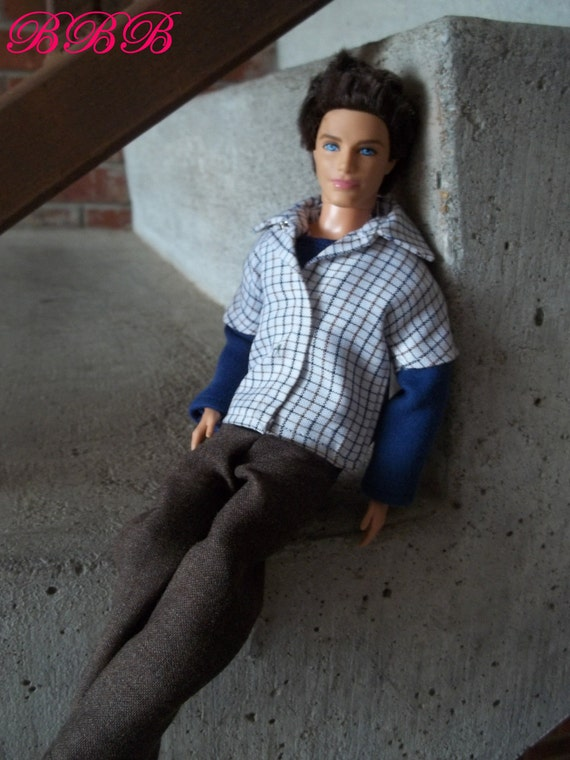 Ken Clothes Outfit Navy Tshirt Plaid Button Front Shirt Brown Pants