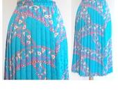 RESERVED Farah Khaizuran VTG Turquoise  blue pleated skirt    M    elastic waist