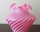 Fenton  Cranberry Spiral Optic Vase Ruffled Crimped Top (MINT) 1950's