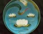 Majolica Water Lily, G S Zell Baden 2474, German, Ocean Blue, Home Decor Plate, Art Nouveau