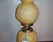 Reserved----Vintage Fenton Glass  Gone With The Wind 3 Way Lamp Wild Roses Honey Amber