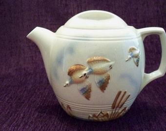 Vintage Porcelier Vitreous Teapot Porcelain With Ducks In Flight & Cattails, Ivory Color, Made In USA Cottage Decor Vintage Kitchen