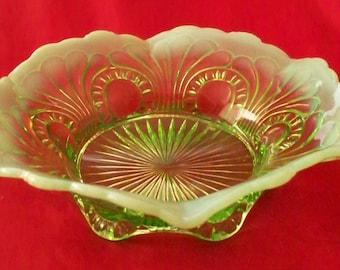 Jefferson Glass EAPG 8 Inch Bowl Tokyo Design Green Opalescent Elegant Entertaining