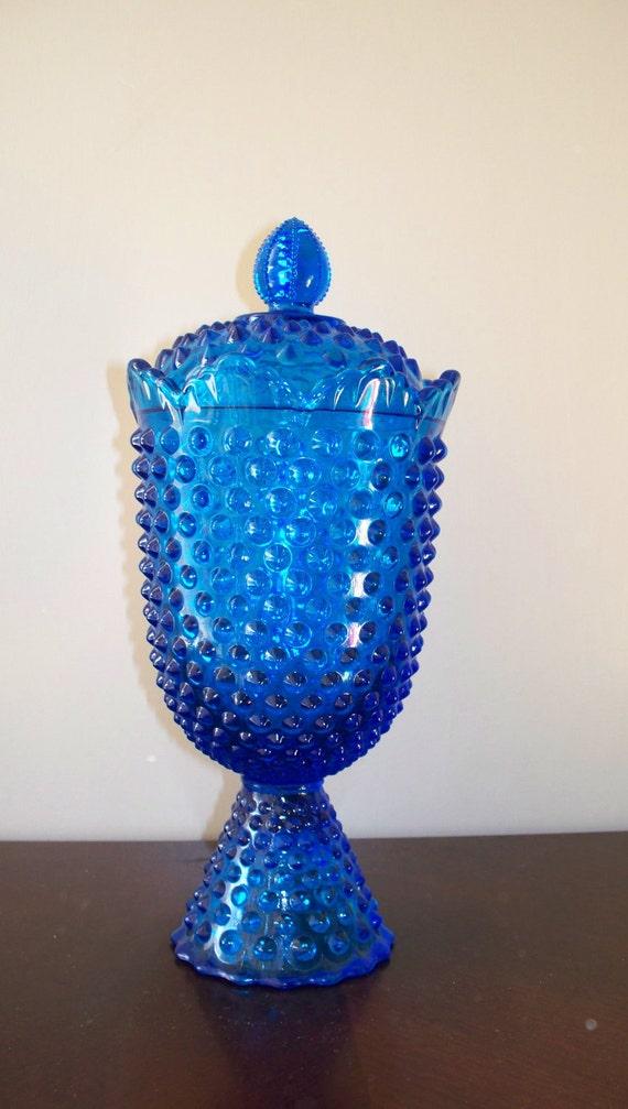 Fenton Colonial Blue Hobnail Apothecary Jar Lidded Mint
