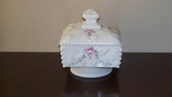 Westmoreland Bead and Grape Wedding Jar or Candy Dish Footed Hand Painted