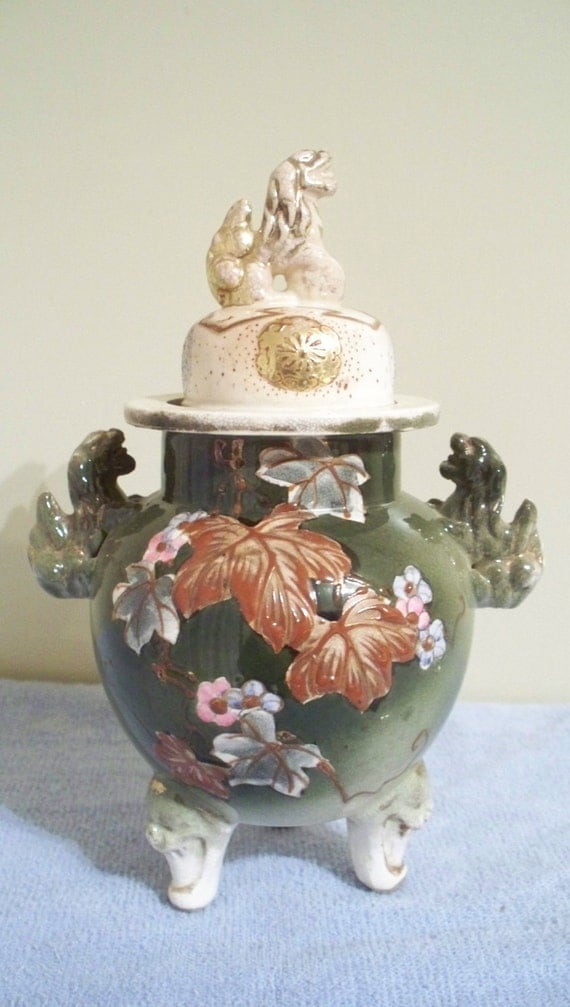 Antique Foo Dog Chinese Ginger Jar Footed/Lidded Original Early 1900's (Excellent)