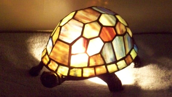 Vintage Tiffany Style Stained Glass Turtle Lamp Night Light