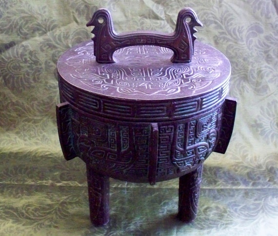 Bronze Chinese Ding Tripod Ice Bucket Stainless Steel Insert