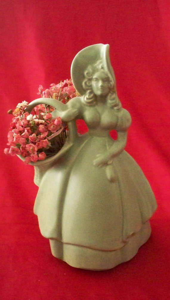 Mid Century Pottery Royal Haeger Southern Belle With Basket Art Pottery Planter or Vase Mint Green Color