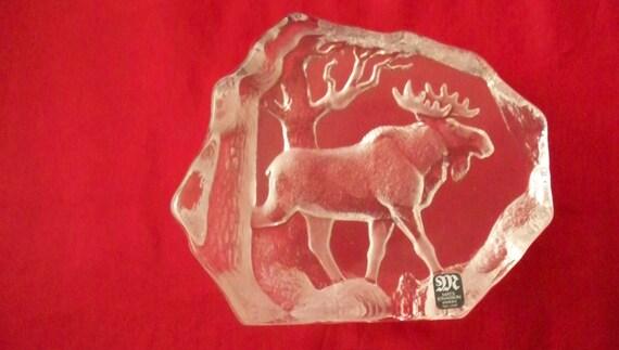 Swedish Mats Jonasson Lead Crystal Moose or Elk Sculpture Paperweight or Display