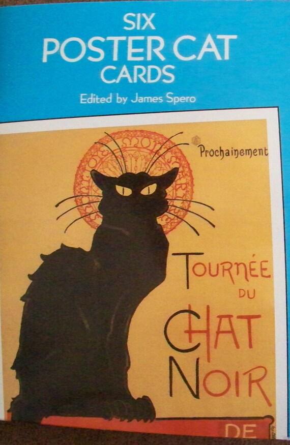 """Six French Cat Postcards Tournee Du Chat Noir """"Black Cat Tour"""""""