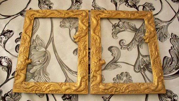 Vintage Golden Dragon Picture Frame Set of 2 Chinese Dragon Metal Frame
