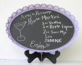 """Vintage Mirrored Perfume Tray Chalkboard Upcycled 14""""x10""""x1.5"""" Lavender Message Board FREE gift with purchase"""