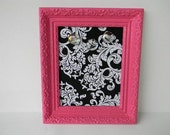 Black and White Damask print magnetic message board in Berry Pink Upcycled wood frame FREE gift with purchase