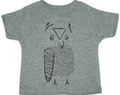 GREY Girls Boys Clothing OWL - T Shirt Toddler Kids Children Shirt - Sizes 18M 2T 3T 4T 5 6 7