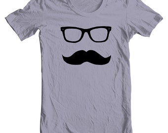 Mustache T Shirt Men's Wayfarer American Apparel Tee XS, S, M, L, XL 9 COLORS