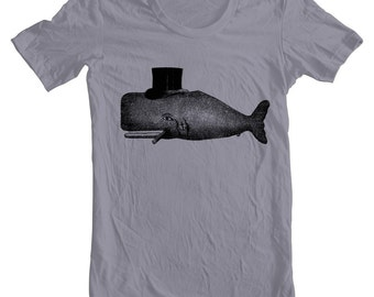 Men's T Shirt Whale Tophat Cigar Tattoo American Apparel Shirt Navy Sailor Funny Humor Animal Print Tshirt xs, s, m. l. xl 9 Colors