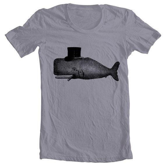 Men's T Shirt Whale Tophat Cigar Tattoo American Apparel Shirt Navy Sailor Funny Humor Animal Print Tshirt xs, s, m. l. xl 9 Colors