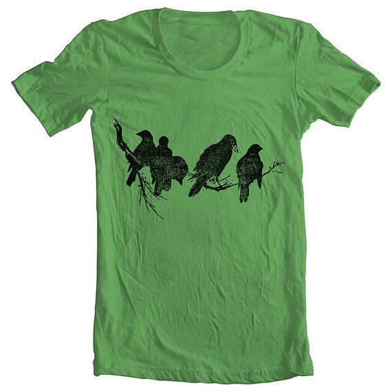 CIJ BIRDS on a limb Unisex Men's Women's t Shirt American Apparel tee tshirt GRASS (9 Colors) Sizes: xs, s, m, l, xl (cta)(ns)