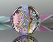 Lampwork focal bead, handmade glass floral organic lentil bead, Aloha