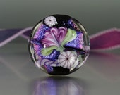 Handmade lampwork glass bead, focal floral organic lentil bead, Purple and Black Dichro Bead