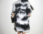 Handmade Barbie Coat, Faux Fur Black & White