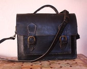 Handmade Leather Briefcase in Black