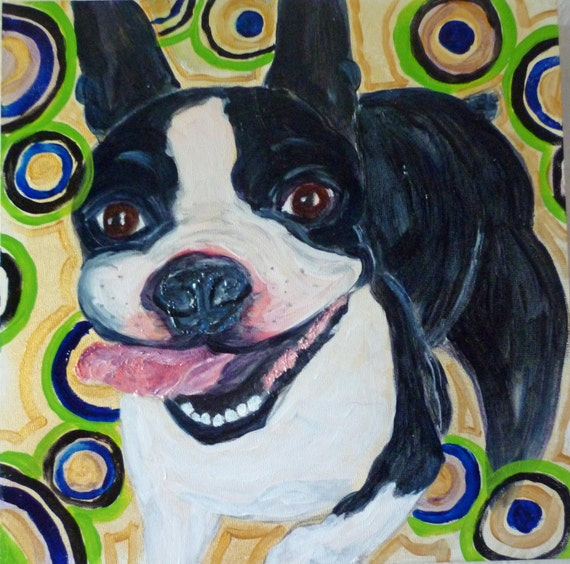 Happy Boston Terrier Expressionistic Original Painting