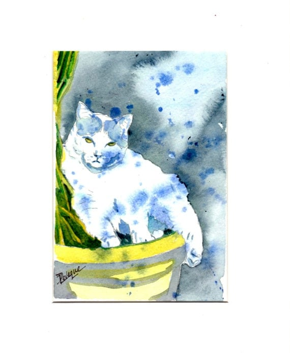White Kitty, out in the Moon Light, Original watercolor