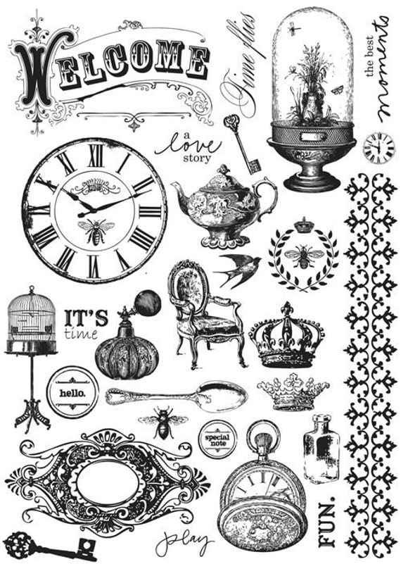 """New Summer 2011 """"Preorder"""" - Printery 5x7 inch cling stamp set"""