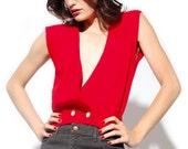 Totally Mod - Vintage Red V Neck SWEATER VEST - Button Waist, Sleeveless