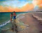 """Mon Gift ,""""Footprints on the Sand"""" Oil paintings on canvas 16""""x24""""  . 100% Handmade"""