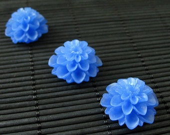 Blue Flower Kitchen Magnets with Resin Dahlias and Powerful Magnets - Set of Three. Handmade.