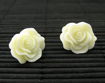 Ivory Rose Post Earrings in Bronze. Rose Earrings. Flower Earrings. Stud Earrings. Handmade Jewelry.