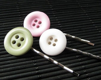 Linda's Garden Inspired Button Bobby Pins in Sage Green, Pink and White