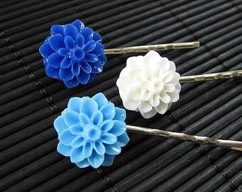 Alpine Inspired Dahlia Flower Bobbypins in Dark Blue, Light Blue and White. Handmade.