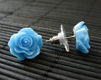 Flower Earrings: Blue Rose Earrings. Silver Post Earrings. Flower Jewelry. Stud Earrings. Handmade Jewelry.