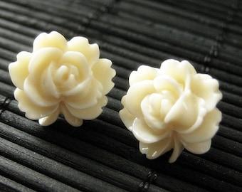 Ivory Lotus Flower Earrings with Bronze Stud Earrings. Floral Jewelry by StumblingOnSainthood