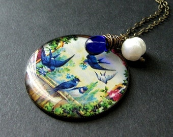 Bluebirds Charm Necklace with Wire Wrapped Cobalt Blue Teardrop and Pearl. Handmade Jewelry.