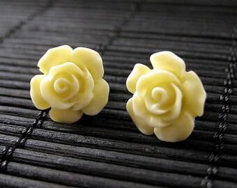 Yellow Flower Earrings. Gardenia Flower Earrings with Bronze Stud Earrings.. Handmade Jewelry.