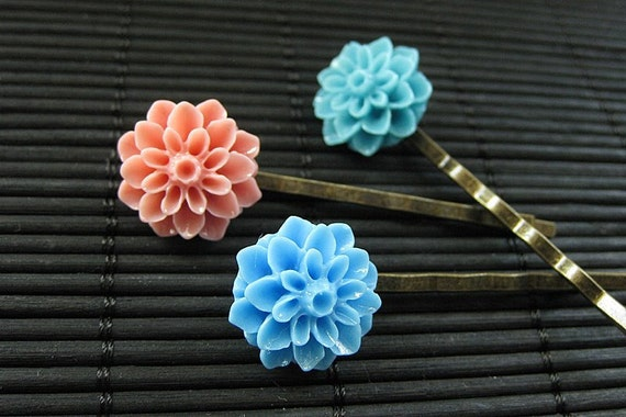 Cotton Candy Inspired Dahlia Bobby Pins in Blue, Turquoise and Pink. Handmade.