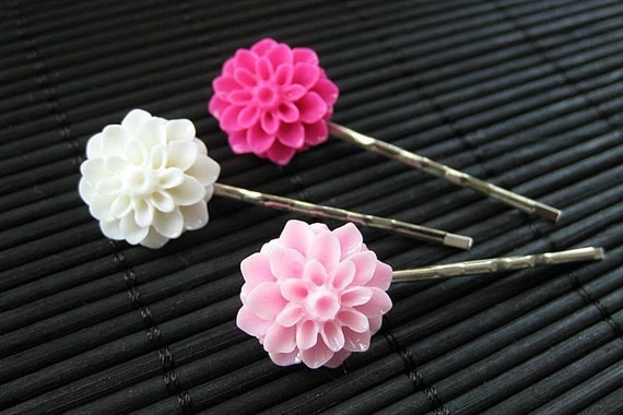Bubble Gum Inspired Floral Hair Pins in Hot Pink, Light Pink and White. Handmade.