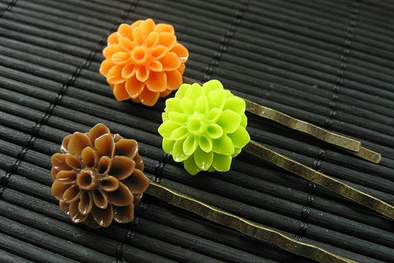 Diner Dessert Inspired Dahlia Flower Hair Pins in Brown, Orange and Lime. Handmade.