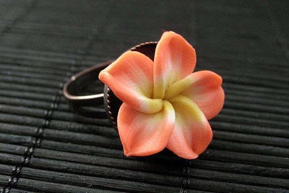 Tropical Flower Ring in Peach Polymer Clay and Aged Copper. Adjustable Ring.. Handmade Jewelry.