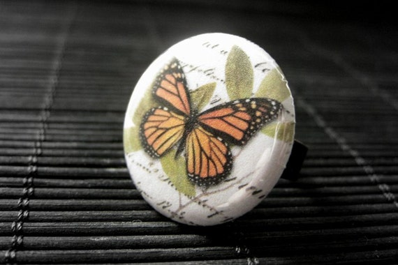 Monarch Butterfly Ring. Button Ring with Bronze Adjustable Ring. Butterfly Jewelry. Handmade Jewelry.