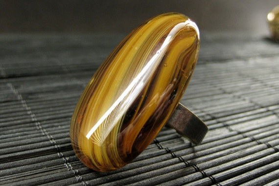 Cocktail Ring: Tigers Eye Swirl Glass Stone Ring with Adjustable Ring Base. Handmade Jewelry.